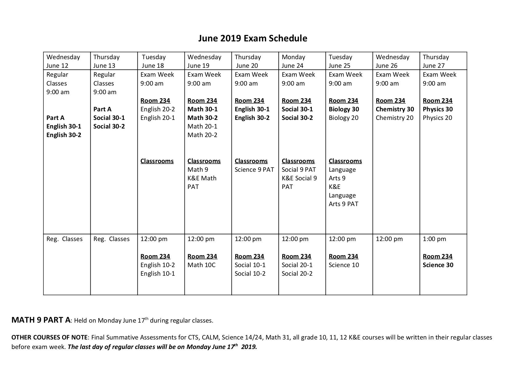 June 2019 Exam Schedule